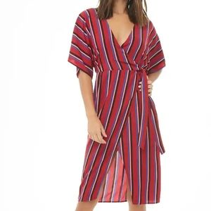 Forever21 Striped Wrap Dress Red Blue Multi Size L